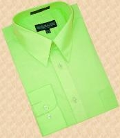 SKU#BS303 Lime Green Cotton Blend Dress Shirt With Convertible Cuffs $39