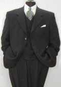 SKU# GH78 Luxurious High End UMO Collezion Men's 3-Button Super 150's Wool & Cashmere Solid Black