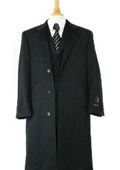 Harward Luxurious Charcoal Gray soft finest grade Cashmere&Wool Overcoat notch lapel$249