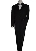 SKU#WM1001 Mantoni 3 Button Men's Tuxedo Suit Solid Black $199