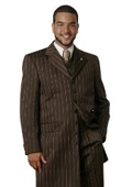 SKU#DS1426 Men Suits brown Pinstripe $109