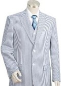 Mens 2pc 100% Cotton Seersucker Suits BlueoffWhite $175