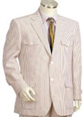 SKU#RP4108 Mens 2pc 100% Cotton Seersucker Suits brownoffwhite