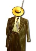 SKU# ZT-PT-179 Men's Black & Gold Pinstripe Dress 5 Button Fashion Zoot Suit $149