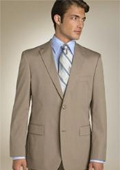 SKU# QPA606 Mens Classic Business Dark Tan~Coffe~Mocca 2 Button 100% Wool $159