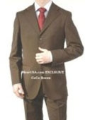 SKU# NYA658 Men's Dark Brown Super Wool 3 Buttons Dress Business Suits $149