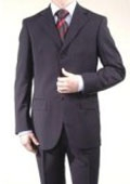 SKU# PBY287 Men's Dark Navy Super Wool 3 Button Suit Dress Busines Suit $149