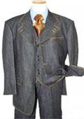 SKU#KA8278 Men's Fashion Denim Suit 3 Piece 100% Cotton Denim Fabric suits w/gold stitching