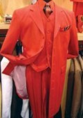 SKU# TE-93 Men's Hot Red 3 Piece Fashion Zoot Suit + Shirt + Tie + Vest Package $169