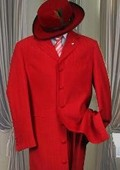 SKU# LT-32 Men's Metalic Hot Red Fashion Dress Zoot Suit 38 Inch Long $109
