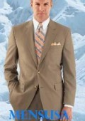 SKU# 128 HW0462 Men's Modern Tan 2-button with Double Vent Super 120's Wool Suit $159