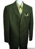 SKU# LKR-09 Men's Olive Green 100% Pure Wool Feel Rayon Viscose (SUPER 120) 3-button $99