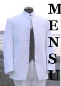 SKU#MU-105 Mens Snow White Mandarin Banded Nerue Nehru Collar 5 Button Oriantal Suit $199