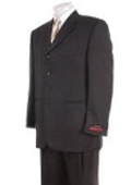 SKU# LP-23 Mens Solid Black 4 buttons Super 120's Wool premeier quality italian fabric Suit $139