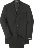 SKU# 3B-W99 Men's Super 100 Wool Solid BLack 3 Buttons Mens Suit $99 Compare at $299