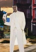 SKU# BKV311 Men's Super Stylish Long Off White/Ivory/Cream Fashion Dress Zoot suit 38 Inch Long $139