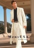 SKU# AM-G411 Men's Very Long Fashion Ivory/Off White Zoot Suit $139