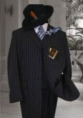 SKU# TL-HJ245 Men's Vested Navy & White Pinstripe Fashion Zoot Suit