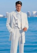 SKU# Emily_T75 Men's White Modern Dress Fashion suit $149