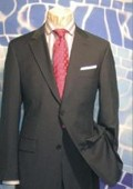 SKU# YNS905 Men's 2 Button Charcoal Gray Super 150's Wool Dress Suit $175