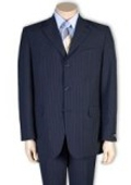 SKU#A63T Men's 2or 3or4 Button Style Navy Blue Pinstripe Light Weight On Sale $109