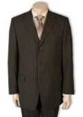 SKU#PWA663 Men's 3 or 4 Button Style Jet Brown Pinstripe Light Weight On Sale $139