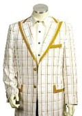 SKU#HG2415 Men's 3 Buttons Suit Style Comes in White Gold Color $175
