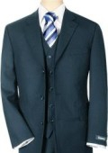 SKU# VNB2165 Men's 3 piece Navy Blue Vested 3 Pieace premeier quality italian fabric Super 120 Wool 3 Buttons $139