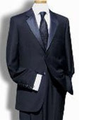 SKU#ML6475 Men's Black 2 Button Super 150's Wool Tuxedo by Tessori Uomo $159