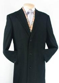 SKU#XV482 Men's Black Fully Lined Wool Blend Top Coat $119