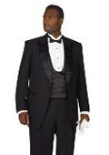 SKU#PL1976 Mens Black Peak Lapel Tuxedo $105