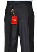 SKU#RY483 Men's Black Single-pleat Wool Dress Pants $89