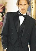 SKU#NI795 Men's Black Six Button Notch Lapel Tailcoat $139