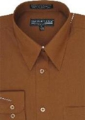 SKU#HE254 Men's Brown Dress Shirt $29