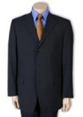 SKU# SL65 Men's  Dark Navy Blue 100% Pure Wool. (SUPER 120) 3-button, No Vent $99