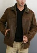 Distressed Open-Bottom Shearling Jacket