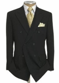 SKU#KL8901 Mens Double Breasted Suit Jacket + Pleated Pants Super 140's 100% Wool Solid Black $189
