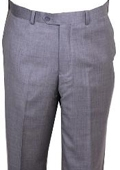 SKU#HU447 Men's Dress Pants Light Gray Wool Non Pleated Pants $89