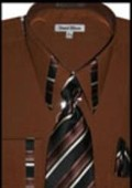 SKU#VY5633 Mens French Cuff Dress Shirt - Dark Brown $65