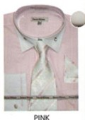 SKU#VS644 Men's French Cuff Dress Shirt Pink $65