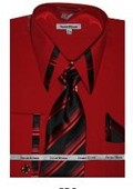SKU#RP4755 Mens French Cuff Dress Shirt - Red $65