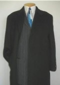 SKU# MTT4 Men's Full Lengt Deepest Charcoal Almost Black Overcoat Wool Blend Hidden Buttons $149