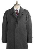 SKU# OKV587 Men's Full Length Charcoal Gray Overcoat in Pure Wool Blend Hidden Buttons Fully Lengh Coat $149