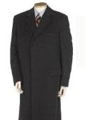 SKU# GHN873 Men's Full Length Solid Black Overcoat Wool Blend Hidden Buttons Fully Lined