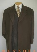 SKU# WKM988 Men's Full Length chocolate brown (CoCo) Overcoat Wool Blend Hidden Buttons Fully Lined $199