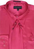 Men's Fuschia Shiny Shirt/Tie