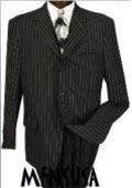 SKU# MU99 Men's Jet Black & White Pinstripe Suit 3-button Party Suits year-round weight $99