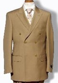 SKU#TZ3972 Mens Khaki Double Breasted Dress Suit $125