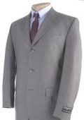 SKU# BNG624 Mens Light Gray Pinstripe 3 Buttons Dress Suit $139