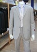 SKU# 24 Men's Lightest Tan 2 Button Super Wool Feel Rayon Viscose Dress Suit (Light Weight) $159